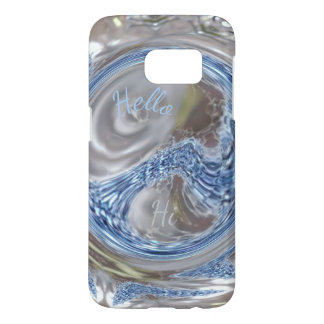 Custom Monogram HI Silver Blue Gray Elegant Art Samsung Galaxy S7 Case