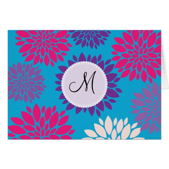 Custom Monogram Initial Pink Purple Flower on Teal Card