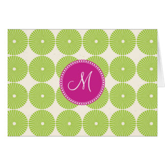 Custom Monogram Initial Spring Green Circles Card
