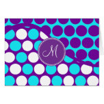 Custom Monogram Initial Teal Purple Polka Dots