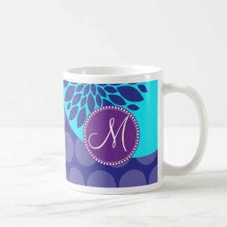 Custom Monogram Initial Teal Purple Polka Dots Coffee Mug