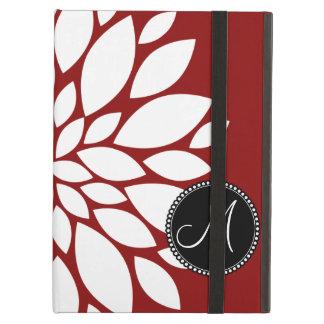 Custom Monogram Initial White Flower on Red iPad Air Cover