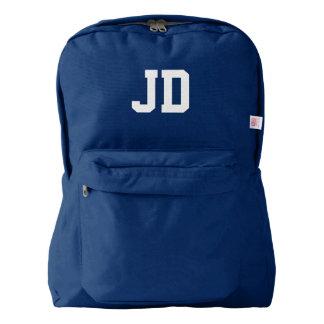 Custom monogram initialled backpack | navy blue