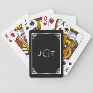 Custom Monogram Initials | Elegant Silver Black Playing Cards
