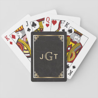 Custom Monogram Initials | Gold Black Leather Playing Cards