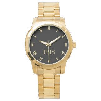 Custom Monogram Initials Luxe Gold Bracelet Watch