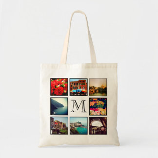 Custom Monogram Instagram Photo Collage Tote Bag