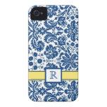 Custom Monogram iPhone4 Blue Lemon Floral Damask
