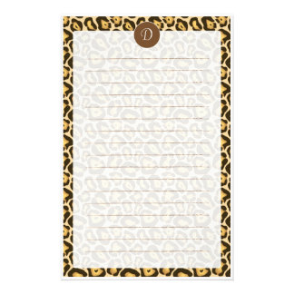 Custom Monogram Leopard Print Lined Stationery