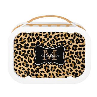 Custom Monogram Leopard Print Lunch Box