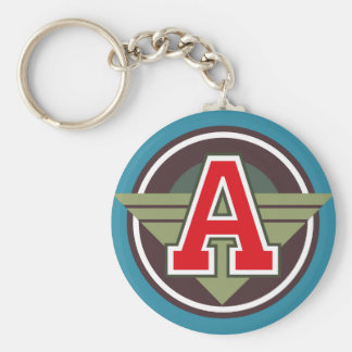 "Custom Monogram Letter ""A"" Initial Basic Round Button Keychain"