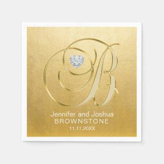 Custom Monogram Letter B Gold Foil Heart Wedding Paper Napkin