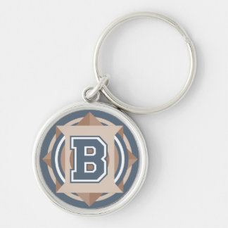 """Custom Monogram Letter """"B"""" Initial Silver-Colored Round Keychain"""