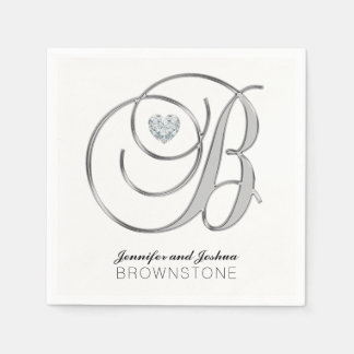 Custom Monogram Letter B Silver White Wedding Paper Napkin