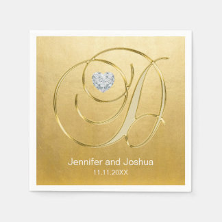 Custom Monogram Letter D Gold Foil Wedding Disposable Napkin
