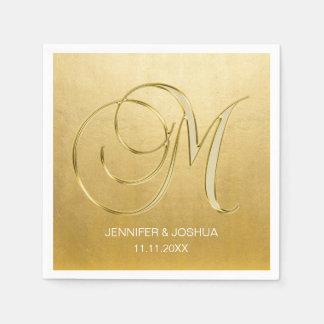 Custom Monogram Letter M Gold Foil Wedding Napkin