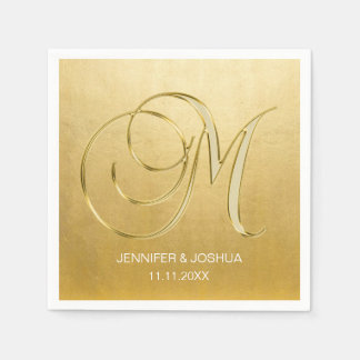 Custom Monogram Letter M Gold Foil Wedding Paper Napkin