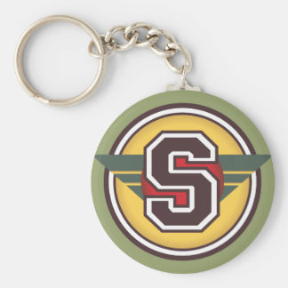 "Custom Monogram Letter ""S"" Initial Basic Round Button Keychain"