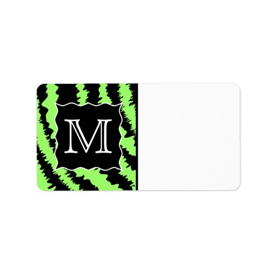 Custom Monogram Lime Green and Black Zebra Pattern Label