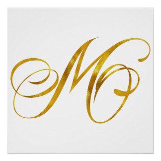 Custom Monogram M Faux Gold Foil Monograms Initial Perfect Poster