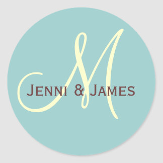 Custom Monogram M Wedding Favor & Envelope Sticker