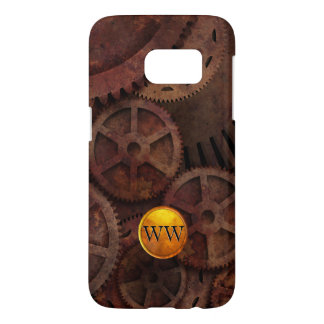 Custom Monogram Metallic Brass Gold Steampunk Samsung Galaxy S7 Case