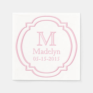 Custom Monogram Name Date White Pastel Pink Frame Disposable Napkins