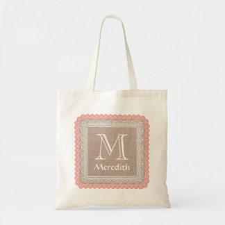 Custom Monogram Name Rustic Burlap Coral Lace A04 Budget Tote Bag