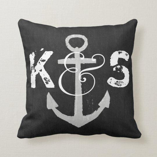 Custom Monogram Nautical Blackboard Throw Pillow