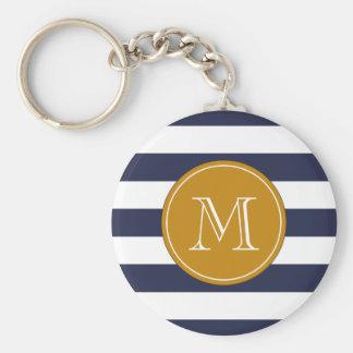 Custom Monogram Navy Blue Stripes Keychain