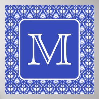 Custom Monogram, on Blue and White Damask Pattern. Poster