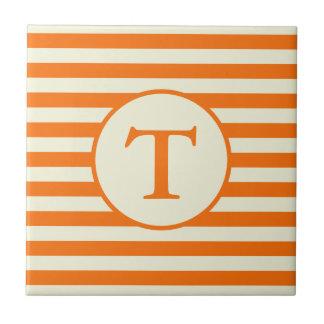 Custom Monogram on Orange and Beige Stripes Tile
