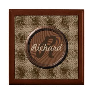 Custom Monogram on Walnut Disc Gift Box