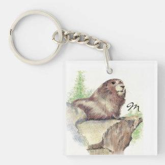 Custom Monogram or Name Marmot Animal Single-Sided Square Acrylic Keychain