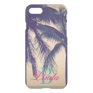 Custom monogram & palm photo clear iPhone 7 case