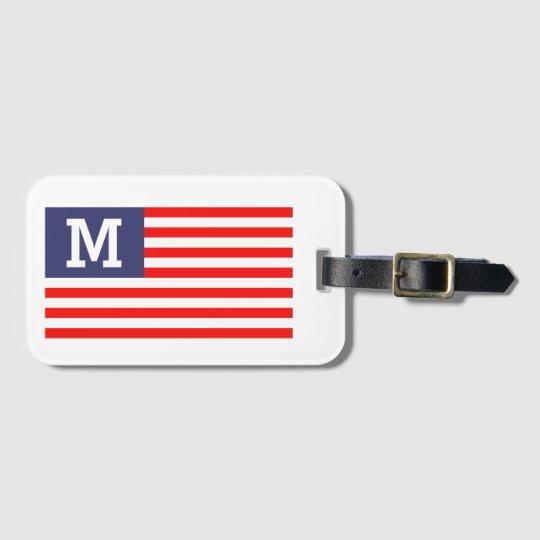 Custom monogram patriotic American flag travel Luggage Tag