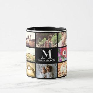 Custom monogram photo collage mug