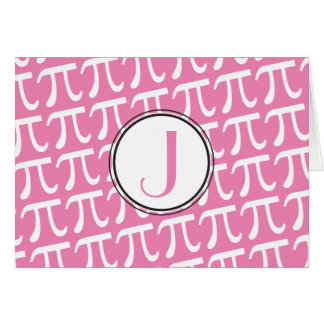 Custom Monogram Pi Symbols Pink Card