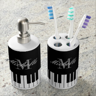 Custom monogram piano keys bathroom gift set