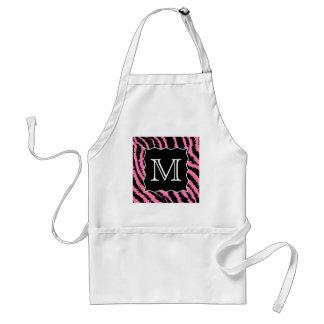 Custom Monogram Pink and Black Zebra Print Pattern Standard Apron