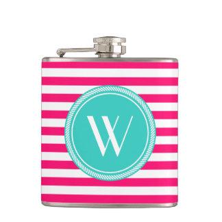 Custom Monogram Pink and Teal Striped Hip Flask