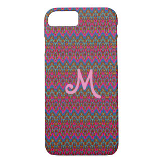 Custom monogram pink, blue and gold Fabric of Life iPhone 8/7 Case