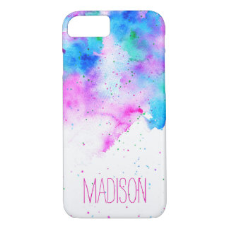 Custom monogram pink blue watercolor brushstrokes iPhone 7 case