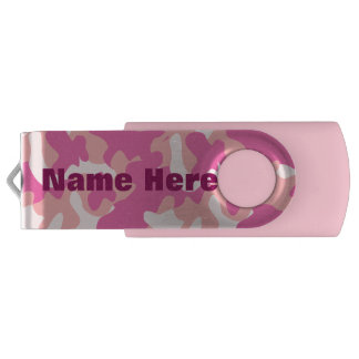 Custom Monogram Pink Camo USB drive