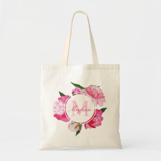 Custom Monogram | Pink Watercolor Flowers Tote Bag