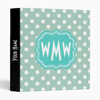 Custom Monogram Polka Dots Pattern Gifts Vinyl Binders
