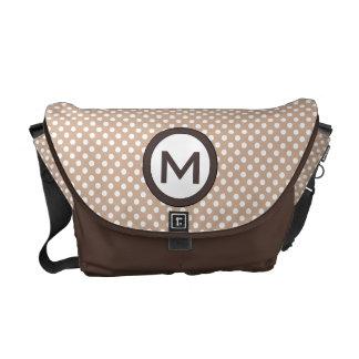 Custom Monogram Polka Dots School or Diaper Bag, Courier Bag