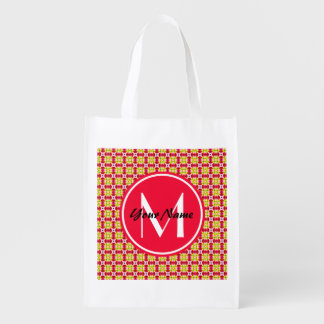 Custom Monogram Pretty and Girly Pink Red Yellow P Reusable Grocery Bag