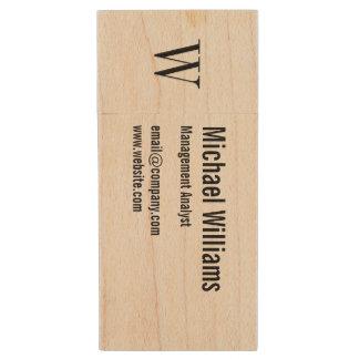 Custom Monogram Professional Office Business USB Wood USB 2.0 Flash Drive