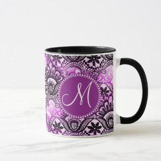 Custom Monogram Purple Lace Damask Pattern Mug